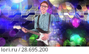 Купить «Musician man playing guitar with geometric party lights venue atmosphere», фото № 28695200, снято 16 июля 2020 г. (c) Wavebreak Media / Фотобанк Лори