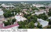 Купить «Panoramic aerial view of district of Gus-Khrustalny, Vladimir region, Russia», видеоролик № 28702688, снято 27 июня 2018 г. (c) Яков Филимонов / Фотобанк Лори