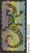 Купить «Stylized drawing of a lizard», иллюстрация № 28703012 (c) Инна Грязнова / Фотобанк Лори