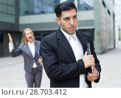 Купить «Sad man is upset with the reprimand for the results of the financial report», фото № 28703412, снято 20 августа 2017 г. (c) Яков Филимонов / Фотобанк Лори