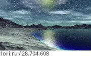 Купить «Чужая планета. Скалы и озеро. Анимация. Панорама. 4К», видеоролик № 28704608, снято 8 июля 2018 г. (c) Parmenov Pavel / Фотобанк Лори