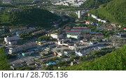 Купить «Вид сверху на город Петропавловск-Камчатский», видеоролик № 28705136, снято 8 июля 2018 г. (c) А. А. Пирагис / Фотобанк Лори