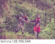 Купить «knights in armor is fighting», фото № 28706544, снято 5 июня 2010 г. (c) Яков Филимонов / Фотобанк Лори