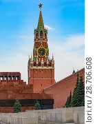 Купить «Moscow red square kremlin clock tower symbol of Russia», фото № 28706608, снято 29 июня 2018 г. (c) Дмитрий Брусков / Фотобанк Лори