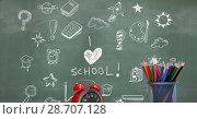 Купить «I love school Education drawing on blackboard», фото № 28707128, снято 22 июля 2018 г. (c) Wavebreak Media / Фотобанк Лори