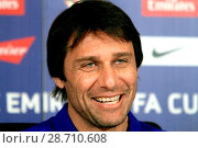 Купить «Chelsea manager Antonio Conte addressing a press conference at the Chelsea training facility in Cobham, Surrey, ahead of the club's FA Cup match against...», фото № 28710608, снято 6 января 2017 г. (c) age Fotostock / Фотобанк Лори