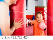 Купить «Girl with boxing gloves posing in defended stance», фото № 28723424, снято 12 апреля 2017 г. (c) Яков Филимонов / Фотобанк Лори
