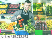 Купить «Male seller helping to choose», фото № 28723672, снято 18 марта 2017 г. (c) Яков Филимонов / Фотобанк Лори