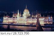 Купить «Night view of Parliament of Budapest», фото № 28723700, снято 29 октября 2017 г. (c) Яков Филимонов / Фотобанк Лори