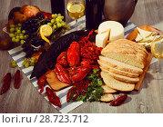 Купить «Still life with cooking marine products, wine and cheese», фото № 28723712, снято 10 февраля 2018 г. (c) Яков Филимонов / Фотобанк Лори
