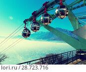 Купить «Cityscape with cable cars in Grenoble in autumn, France», фото № 28723716, снято 7 декабря 2017 г. (c) Яков Филимонов / Фотобанк Лори