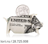Купить «Russian coin worth one ruble falls into a piggy bank made from American dollars, isolated on white background», фото № 28725008, снято 21 апреля 2018 г. (c) Сергей Чайко / Фотобанк Лори