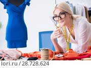Купить «Woman tailor working on new dress designs», фото № 28728624, снято 13 апреля 2018 г. (c) Elnur / Фотобанк Лори