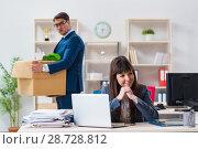Купить «Person being fired from his work», фото № 28728812, снято 1 февраля 2018 г. (c) Elnur / Фотобанк Лори
