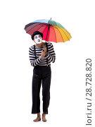 Купить «Mime with umbrella isolated on white background», фото № 28728820, снято 24 августа 2017 г. (c) Elnur / Фотобанк Лори