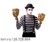 Mime with masks isolated on white background. Стоковое фото, фотограф Elnur / Фотобанк Лори