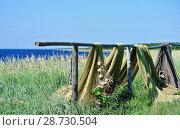 Купить «Рыболовные сети сушатся на самодельной сушилке из старых бревен, стоящей на высоком берегу моря среди зеленой травы», фото № 28730504, снято 29 июля 2017 г. (c) Елена Александрова / Фотобанк Лори