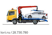 Купить «Vector tow truck template isolated on white», иллюстрация № 28730780 (c) Александр Володин / Фотобанк Лори