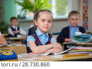 Купить «Прилежная ученица», фото № 28730860, снято 21 мая 2018 г. (c) Иван Карпов / Фотобанк Лори