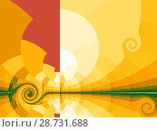 Купить «Yellow background with stylized sun», иллюстрация № 28731688 (c) Любовь Назарова / Фотобанк Лори