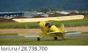 Купить «Yellow biplane at air show Aerosport», фото № 28738700, снято 20 мая 2018 г. (c) Яков Филимонов / Фотобанк Лори