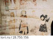 Купить «Sagarejo Municipality, Kakheti region, Georgia - October 23, 2016: Ancient Frescoes In Walls Of Caves Of David Gareja Monastery Complex. Monastery Is Located Is Southeast Of Tbilisi. 6th Century.», фото № 28750156, снято 23 октября 2016 г. (c) easy Fotostock / Фотобанк Лори