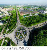 Купить «Aerial city view with crossroads and roads, houses buildings. Copter shot. Panoramic image.», фото № 28750700, снято 19 июля 2013 г. (c) Александр Маркин / Фотобанк Лори