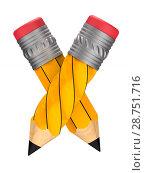 Купить «wooden pencil with eraser on white background. Isolated 3D illustration», иллюстрация № 28751716 (c) Ильин Сергей / Фотобанк Лори