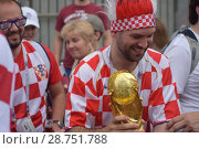 Купить «Болельщики из Хорватии», фото № 28751788, снято 15 июля 2018 г. (c) Виктор Юрасов / Фотобанк Лори