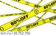 Купить «Eighty percentage off. Discount of 80 %. Yellow warning tapes in motion», видеоролик № 28752756, снято 2 апреля 2018 г. (c) WalDeMarus / Фотобанк Лори