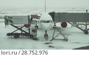 Купить «Service of the aircraft preparation for flight at a snowy aerodrome of Astana International Airport stock footage video», видеоролик № 28752976, снято 30 марта 2018 г. (c) Юлия Машкова / Фотобанк Лори