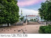 Купить «Голуби у собора St. Nicholas Cathedral and pigeons», фото № 28753136, снято 4 июня 2018 г. (c) Baturina Yuliya / Фотобанк Лори