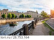 Купить «Санкт-Петербург. По реке на катере. The boat sails along the Moika River», фото № 28753164, снято 4 июня 2018 г. (c) Baturina Yuliya / Фотобанк Лори