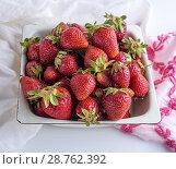 Купить «Ripe red strawberry in a white iron plate, top view.», фото № 28762392, снято 18 мая 2018 г. (c) age Fotostock / Фотобанк Лори