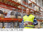 Купить «manual worker with tablet pc at warehouse», фото № 28773440, снято 9 декабря 2015 г. (c) Syda Productions / Фотобанк Лори