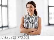 Купить «happy smiling businesswoman at office», фото № 28773632, снято 8 июня 2018 г. (c) Syda Productions / Фотобанк Лори