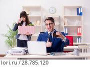 Купить «Person being fired from his work», фото № 28785120, снято 1 февраля 2018 г. (c) Elnur / Фотобанк Лори