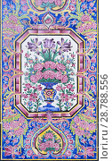 Tilework at Masjed-e Nasir al-Molk, also known as pink mosque, Shiraz, Iran. Стоковое фото, фотограф Stefano Baldini / age Fotostock / Фотобанк Лори