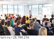 Купить «Speaker giving presentation on business conference.», фото № 28789216, снято 5 июня 2014 г. (c) Matej Kastelic / Фотобанк Лори