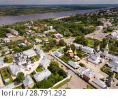Купить «Panoramic aerial view of Trinity and Annunciation Monasteries», фото № 28791292, снято 13 июня 2018 г. (c) Яков Филимонов / Фотобанк Лори