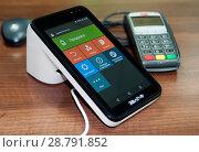 Купить «Он-лайн касса, пин-пад для банковских карт», фото № 28791852, снято 19 июля 2018 г. (c) Игорь Р / Фотобанк Лори