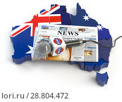 Australian news, press and journalism concept. Microphone and newspaper on the map in colors of the flag of Australia. Стоковое фото, фотограф Maksym Yemelyanov / Фотобанк Лори