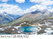 Купить «Small alpine lake near Zermatt, canton Valais, Switzerland», фото № 28804532, снято 4 июля 2018 г. (c) Григорий Стоякин / Фотобанк Лори