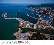 Купить «Краснодарский край, вид на морской порт Туапсе и устье реки Туапсинка», фото № 28804640, снято 3 июля 2018 г. (c) glokaya_kuzdra / Фотобанк Лори
