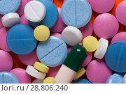 Купить «Multicolored medicaments, top view.», фото № 28806240, снято 7 августа 2017 г. (c) Pavel Biryukov / Фотобанк Лори