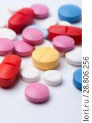 Купить «Multicolored medicaments, top view.», фото № 28806256, снято 7 августа 2017 г. (c) Pavel Biryukov / Фотобанк Лори