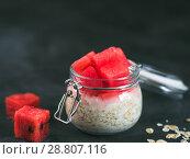 Купить «overnight oats with watermelon», фото № 28807116, снято 17 июля 2018 г. (c) Ольга Сергеева / Фотобанк Лори