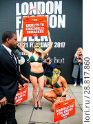 Купить «Three nearly naked female PETA (People for the Ethical Treatment of Animals) protestors dressed in little more than underwear and crocodile masks braved...», фото № 28817860, снято 17 февраля 2017 г. (c) age Fotostock / Фотобанк Лори