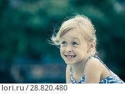 Купить «Closeup happy little girl», фото № 28820480, снято 20 июля 2017 г. (c) Яков Филимонов / Фотобанк Лори