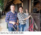 Купить «Mature smiling couple with girth feeding a horse at stable», фото № 28820544, снято 4 июля 2018 г. (c) Яков Филимонов / Фотобанк Лори